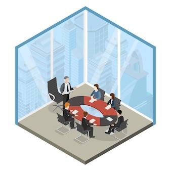 Босс, встреча, бизнес-центр, стеклянный угловой кабинет, квартира, 3d изометрическая веб-иллюстрация
