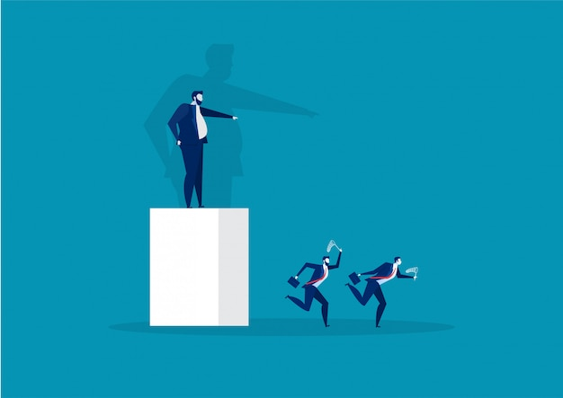 Boss pointing the direction to employee run to success concept vector