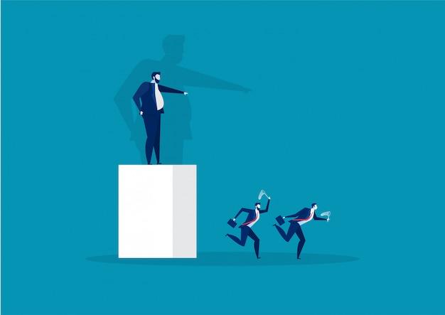 Босс, указывая направление к работнику, бегущему к вектору концепции успеха