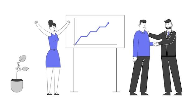 성장하는 화살표 그래프와 함께 차트 판에 서있는 사무실 직원에게 악수하는 보스. 프리미엄 벡터