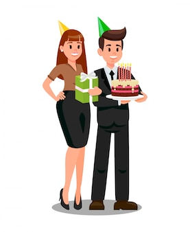 Boss and wife ready to corporate party flat vector