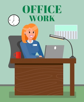Boss working in office flat vector illustration