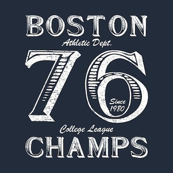 디자인 의류에 대한 보스턴 챔프 타이포그래피 인쇄 제품 의류에 대한 운동 tshirt 그래픽