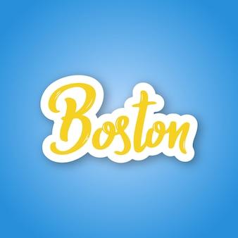 Бостон рисованной надписи название города сша