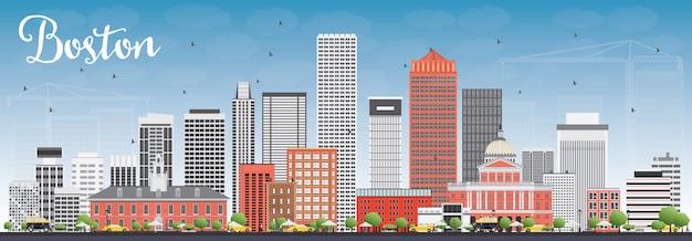 灰色と赤の建物と青い空とボストンのスカイライン。ベクトルイラスト。