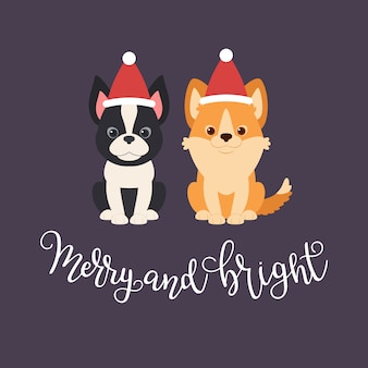 Boston terrier and welsh corgi puppies in christmas hats