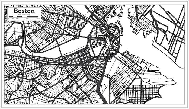 Карта города бостон сша в стиле ретро. контурная карта. векторные иллюстрации.
