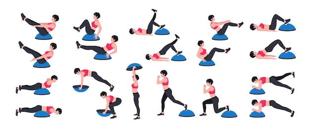 Тренировочный набор для тренировки баланса с мячом bosu