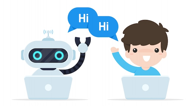 ボットチャットはこんにちはと言います。オンラインで顧客と話すようにプログラムされたロボット。