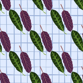 Botanic bright seamless pattern with hand drawn purple and green leaves silhouettes.