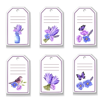 Botanic card with flowers, butterfly, birds