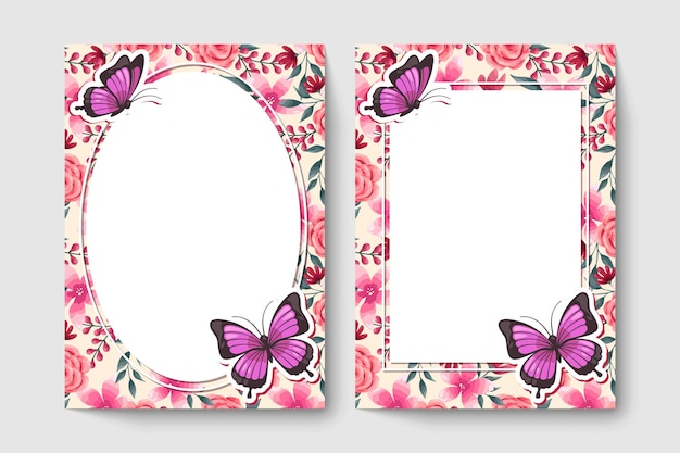 Botanic card with pink color flowers, leaves, butterfly.