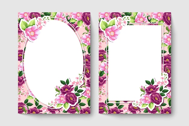Botanic card with red and pink color flowers, leaves.