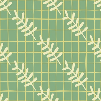 Botanic floral branches seamless pattern. yellow elements on pastel background with green stripe.