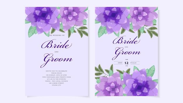 野生の花と植物の花の結婚式の招待カードテンプレートは、春の飾りの概念を残します