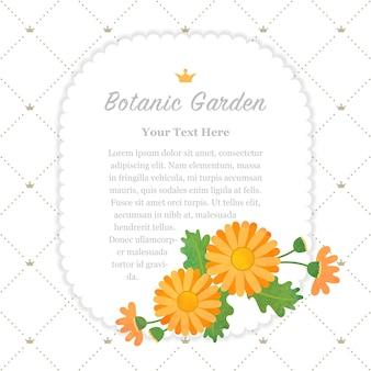Ботанический сад рамка сложноцветные оранжевая маргаритка