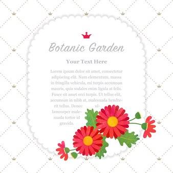 Ботанический сад рамка сложноцветные красная маргаритка