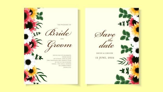 ロマンチックな野生の花の葉と植物のピンクの花の結婚式の招待カードテンプレート
