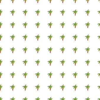 小さな緑のヤシの木の要素が印刷された植物のシームレスな落書きパターン。白色の背景。孤立した背景。