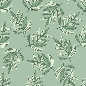 Ботанический бесшовный образец с элементами очертания контуров листьев. работа в пастельных зеленых тонах.