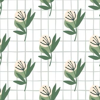 チェックと白い背景の上のパステルピンクのタンポポと植物のシームレスなパターン。テキスタイル、壁紙、包装紙、布のed。図。
