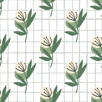Botanic seamless pattern with pastel pink dandelion on white background with check. ed for textile, wallpaper, wrapping paper, fabric .  illustration.