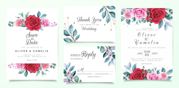 Botanic wedding invitation card template set with burgundy and peach watercolor flowers decor