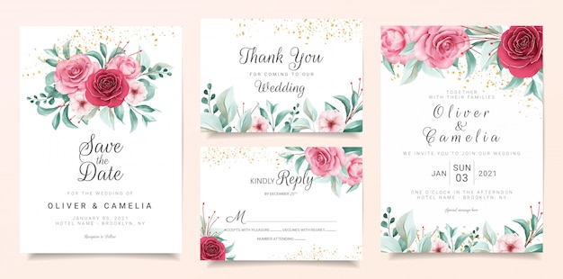 Botanic wedding invitation card template set with burgundy and peach watercolor flowers