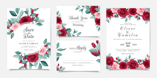 Botanic wedding invitation card template set with flowers frame and border