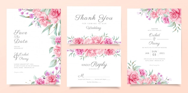 Botanic wedding invitation card template set with soft watercolor flowers and leaves