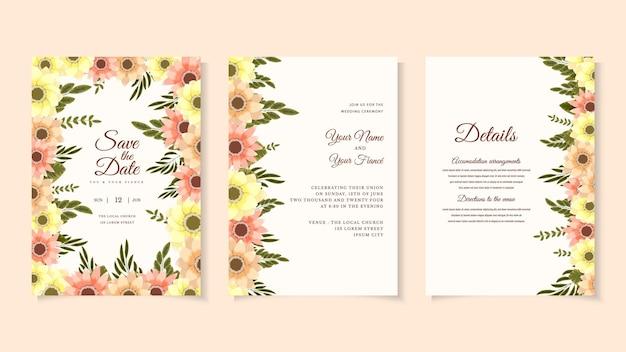 野生の花と植物の結婚式の招待カードテンプレートは花の招待状ベクトルグリーティングカードを残します