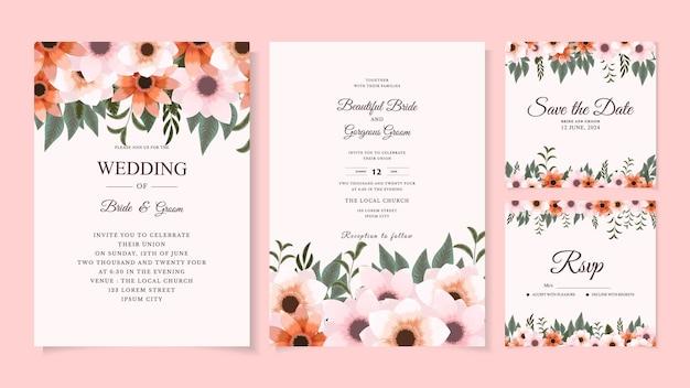 野生の花の葉と植物の結婚式の招待カードテンプレート日付を保存するrsvp