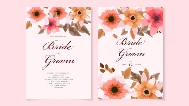 野生の花、葉を持つ植物の結婚式の招待カードテンプレート。春の飾りのコンセプト。豪華な花の招待状ベクトルレイアウト、装飾的なグリーティングカード