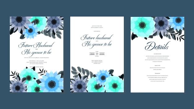 野生の花と植物の結婚式の招待カードテンプレートは、春の飾りの概念を残します