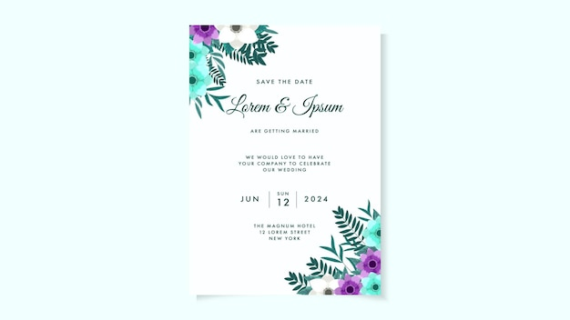 野生の花の葉と植物の結婚式の招待カードテンプレート春飾り花のコンセプト
