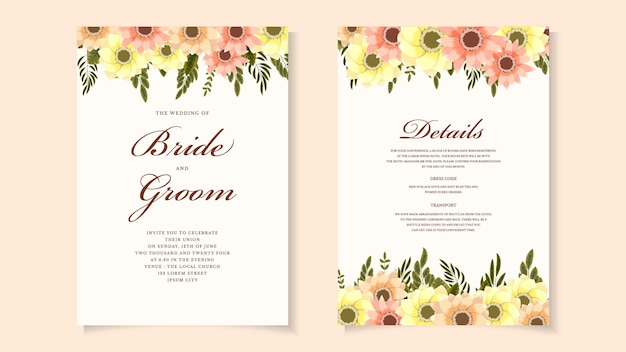 野生の花の葉と植物の結婚式の招待カードテンプレート