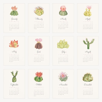 Botanical 2022 monthly calendar template, cactus illustration vector set