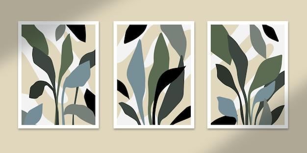 식물 추상 포스터 아트 손으로 그린 모양 커버 세트 컬렉션 벽 인쇄 장식