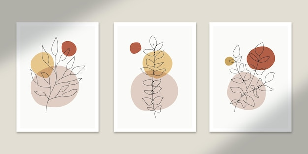Botanical abstract posters art hand drawn shapes covers set collection for wall print  decor