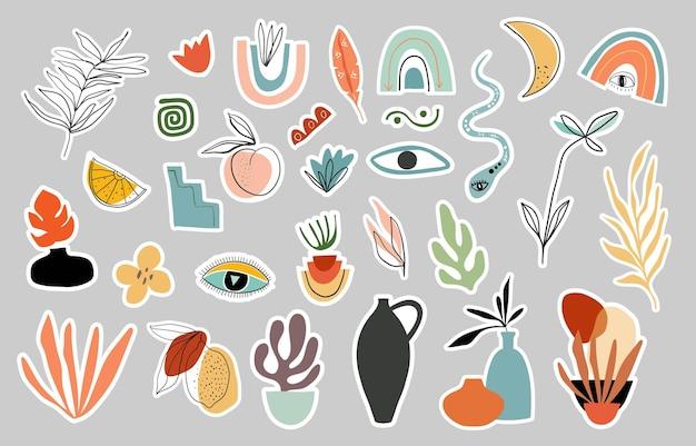 さまざまな現代的な要素が設定された植物の抽象的なステッカー