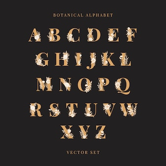 Botanical alphabet capital letters vector set