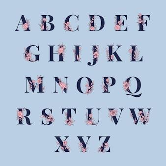 Botanical Alphabet capital letters vector set