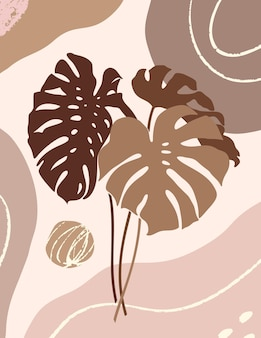 Botanical art with tropical monstera leaves and organic shapes in minimal trendy style. vector abstract illustration in pastel colors for print, cover, card, wallpaper, posters, social media stories