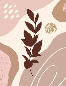 Botanical art with with branch and leaves and organic shapes in minimal trendy style. vector abstract illustration in pastel colors for print, cover, card, wallpaper, posters, social media stories