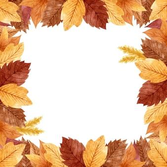 황금, 주황색, 갈색 잎과 밀 귀가 있는 식물 가을 프레임