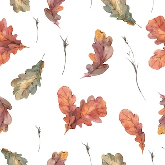 Botanical autumn seamless pattern