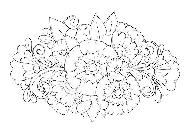 Ботанический фон для окраски. раскраска для детей и взрослых. художественная линия.