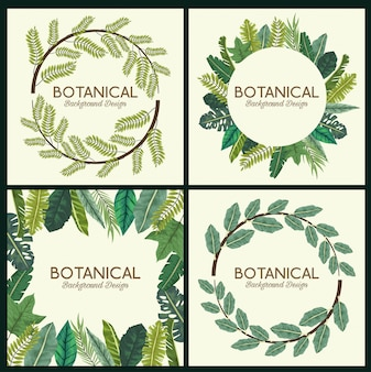 Botanical background set with leaves wreaths