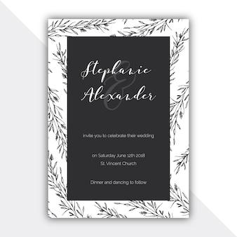 Botanical black and white wedding card