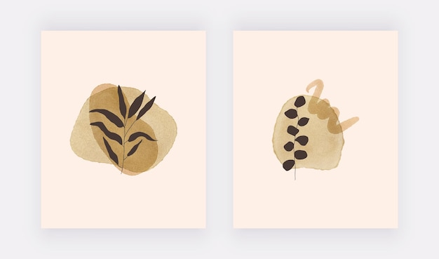 Botanical boho wall art prints with black leaves and watercolor shapes